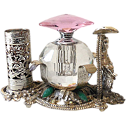 Cut Crystal Perfume Bottle In Metal Cherub Holder w/ Lipstick