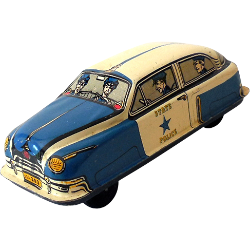 Vintage Tin Lithograph  Friction Police Car 8&1/2 Inch