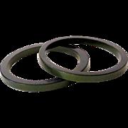 Pair 1950's Green Lucite Plastic Bracelets *New Old Stock*