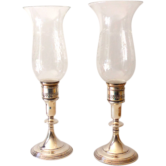 Pair Sterling Silver Candlestick Holders Hurricane Globes