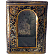 1880s Tin & Glass General Store Counter Top Bin Licorice