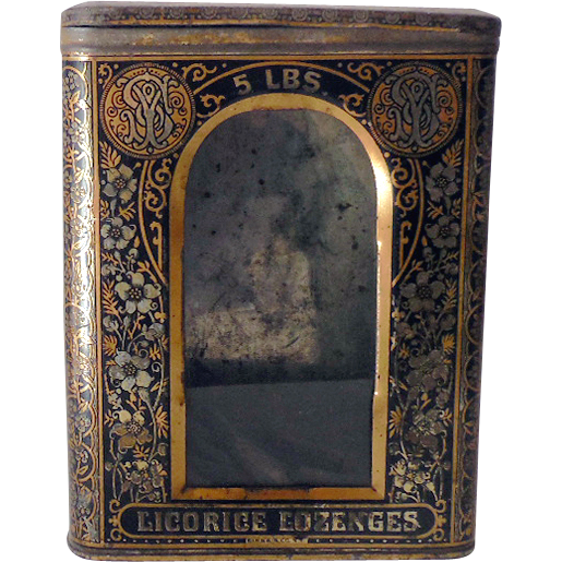 1880s Tin & Glass General Store Counter Top Bin Licorice