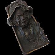 Vintage Figural Bronzed Cast Iron Inkwell Black Americana