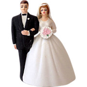 1950s Lefton Bisque Bell Wedding Cake Top Bride & Groom