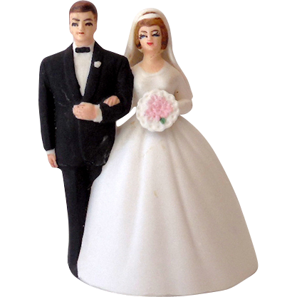 1950s Lefton Bisque Bell Wedding Cake Top Bride Amp Groom