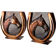 Fabulous1050s  Horse Head Horse Shoes Bookends