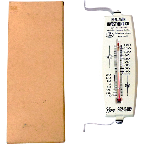 Vintage Tin Advertising Thermometer in Original Box