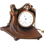 Antique Figural Art Nouveau Lady Pocket Watch Holder
