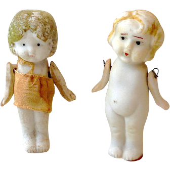 (2) Vintage Jointed 3 Inch Bisque Dolls Japan