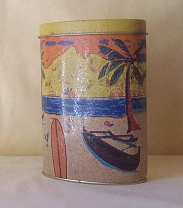 Metal Cologne Tin Hula Girl Surfboard Outrigger