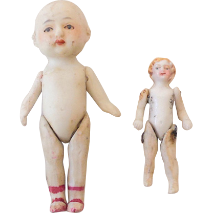 (2) Small Jointed Bisque Dolls Dollhouse
