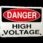 """Vintage Porcelain Sign """"High Voltage"""" Danger Warning"""