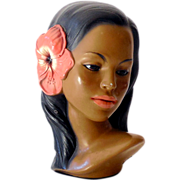 1940s Signed Marwal Hawaiian Hula Girl Pottery Bust