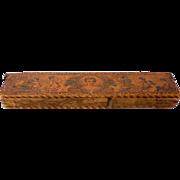 Antique Children's Wood Pyrography Pencil Box