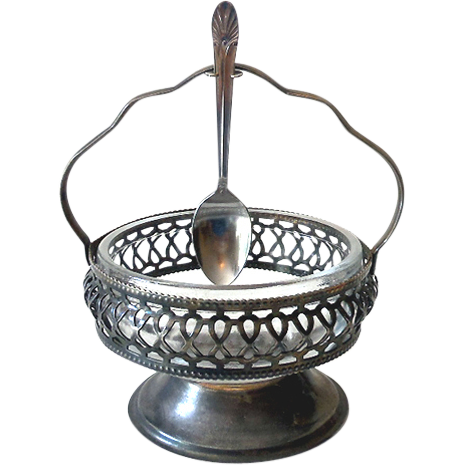 Silver Plated Glass Condiment Basket Bowl With Spoon