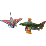 (2) Tin Litho Friction Airplanes Fighter Planes Japan