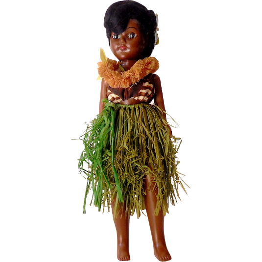 Vintage Hawaiian Hula Girl Doll With Sleep Eyes 11""