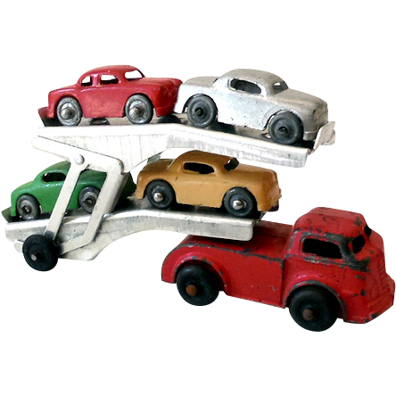 Vintage Die Cast Metal Auto Transport Truck With Cars