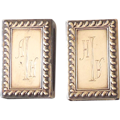 Pair Of Vintage Sterling Silver Match Safes Match Box Holders