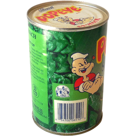 vintage allens spinach tin can popeye the sailor label