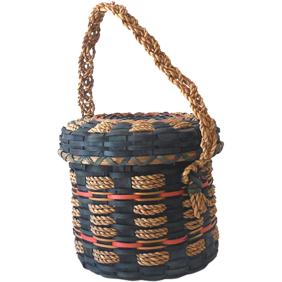 Vintage Hand Woven American Indian Basket With Lid