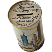 1934 Chicago World's Fair Tin Advertising Bank