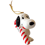 Vintage Peanuts Gang Snoopy Ceramic Ornament