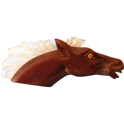 Vintage 1940s Lucite & Wood Horse Head Brooch