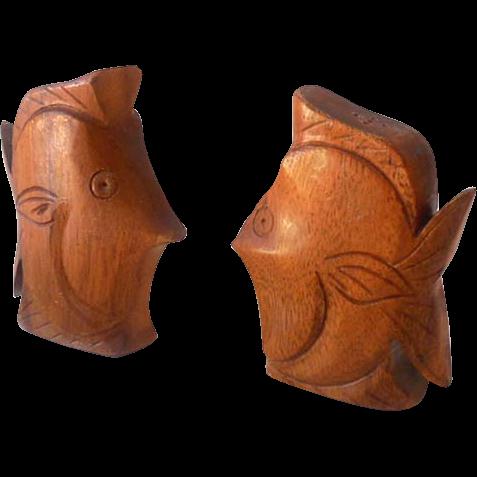 Hawaiian Carved Wood Fish Salt & Pepper Shakers