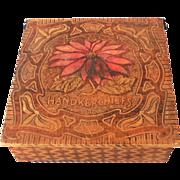 Vintage Pyrography Handkerchief Box