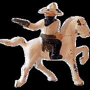 1930s Barclay Lead Toy Cowboy Bandit on Horse Gun