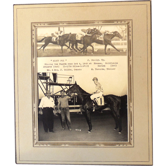 Original 1949 B & W Horse Race Real Photograph