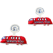 "(2) Vintage Tin Litho Pins ""Oil Serves You"" NOS"