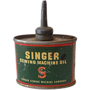 Vintage Singer Sewing Machine Oil Tin Litho Can
