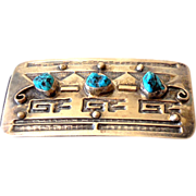 "Navajo Silver & Turquoise Belt Buckle Signed ""RB"""