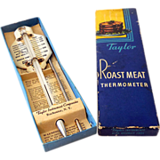 1940s Taylor Meat Thermometer In Box Porcelain Top