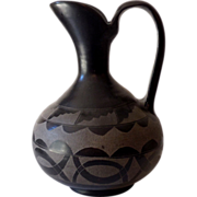 HUGE Early San Ildefonso Pueblo Black on Black Pottery Ewer
