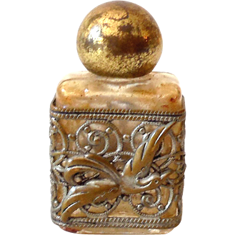 Vintage Mini Perfume Glass Bottle Silvertone Filigree