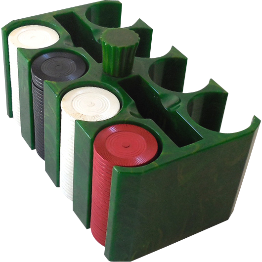 1930s Marbled Green Bakelite Poker Chip Holder