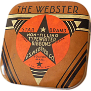 Vintage Webster Star Brand Typewriter Tin w/ Reel