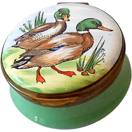 Hand Painted English Enamel Pill Box Signed Crummles
