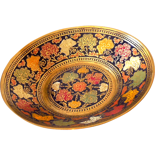 Vintage Asian Brass and Enamel Footed Bowl