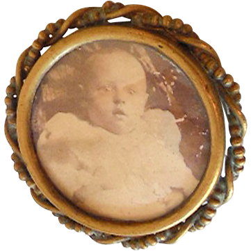 Victorian Mourning Baby Picture Brooch