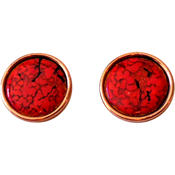 Signed Matisse Renoir Copper and Red Enamel Earrings