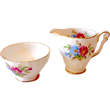 Small Vintage Queen Anne Bone China Cream & Sugar