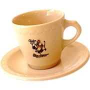 "Vintage ""Chicken in the Rough"" Demitasse Cup & Saucer"