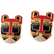 "1980s Laurel Burch ""MIIKIO""  Lion Tiger Post Earrings"