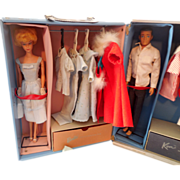 1960s Barbie & Ken Dolls in Case With Clothes & Accessories