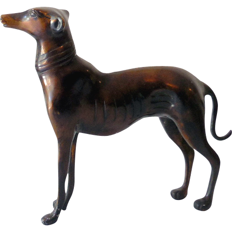 Art Deco Bronze Whippet Greyhound Dog Statue