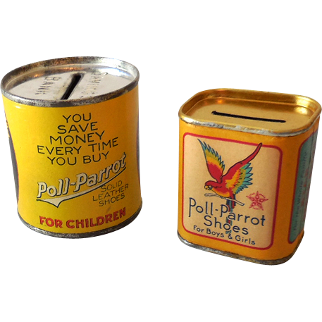 (2) Poll Parrot Childrens' Shoes Tin Advertising Banks